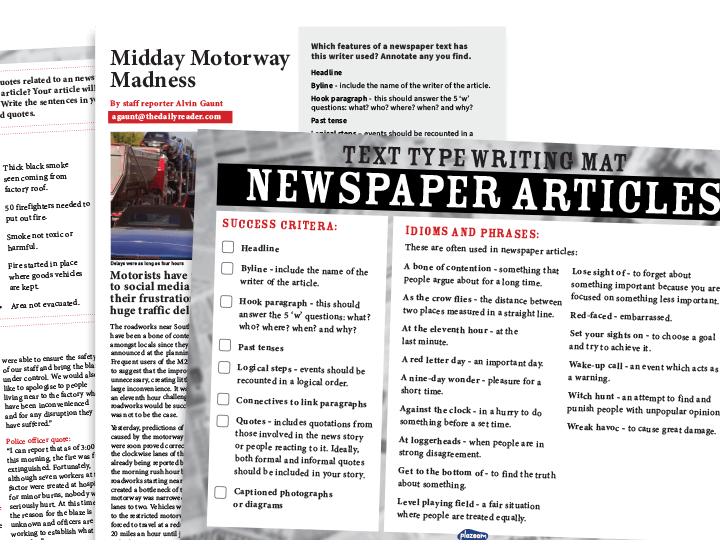 KS2 Text Types - Newspaper Articles: Writing Planners And Model Texts