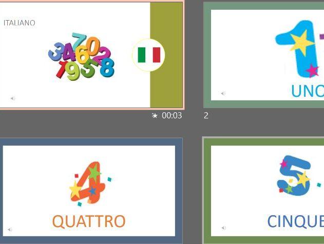 Numbers 1-12 in Italian