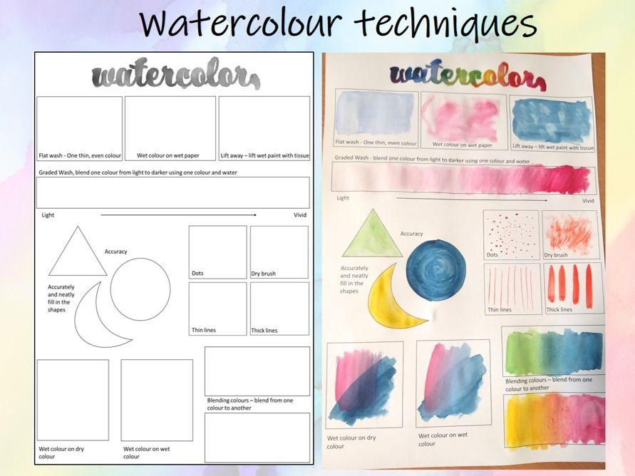 Watercolour techniques + demo videos  lesson / worksheet