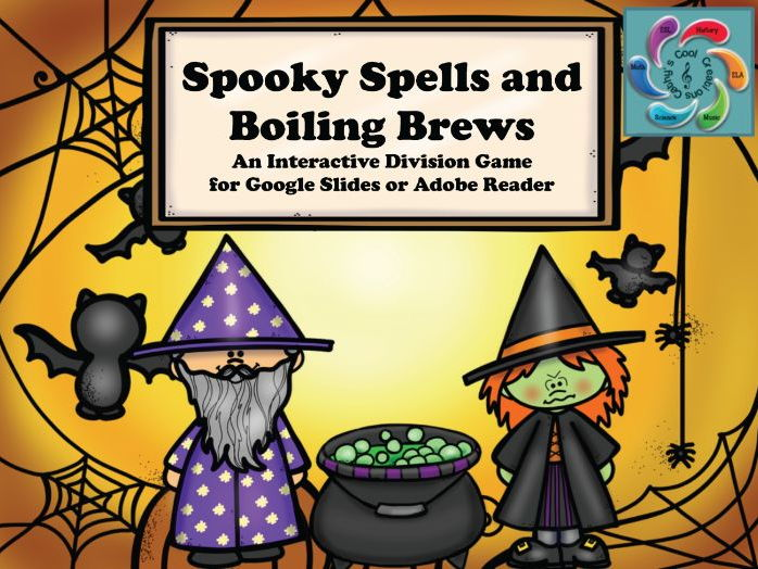 Interactive Math game-Google Slides / Adobe PDF-Division Spooky Spells & Boiling Brews