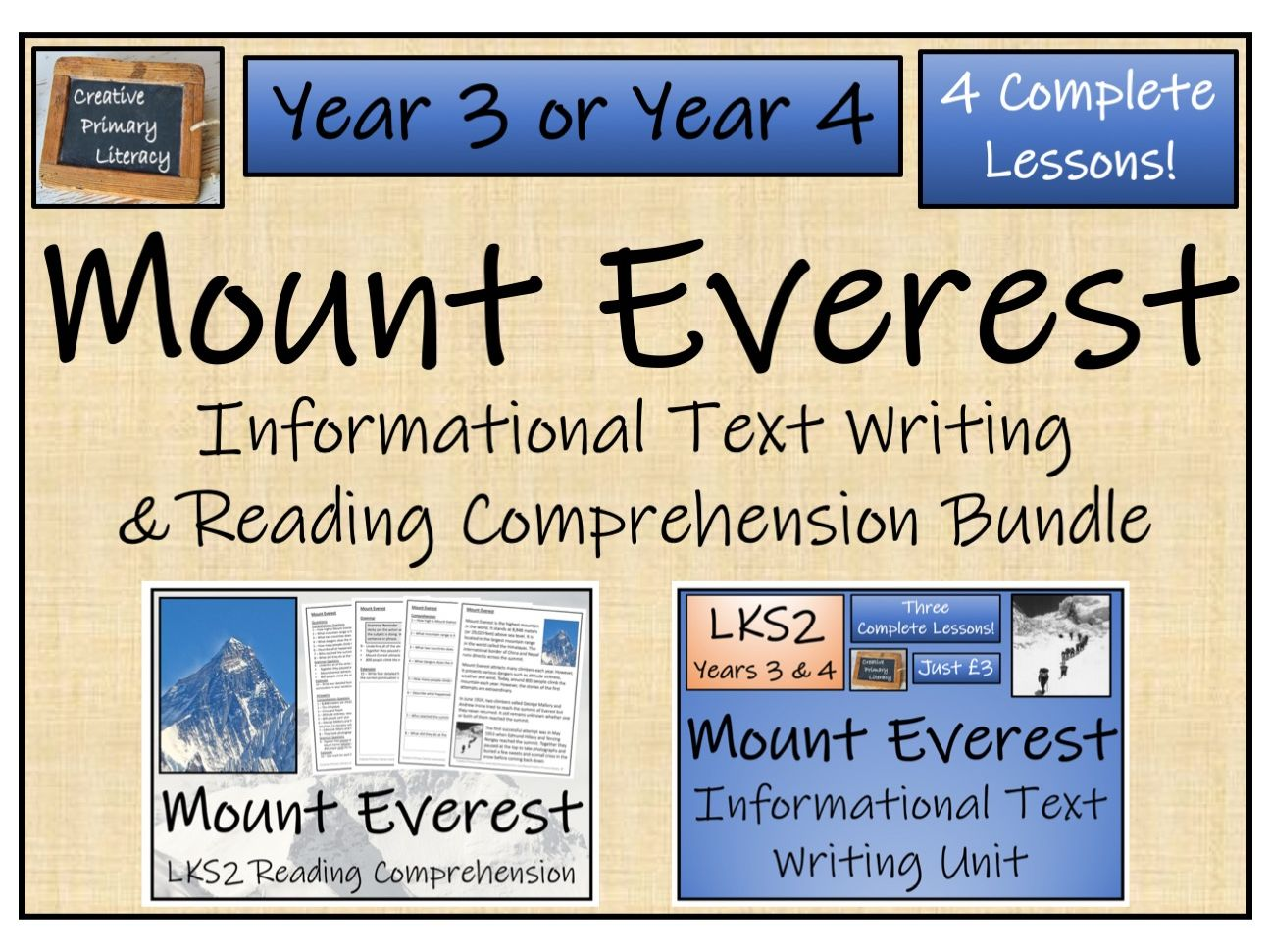 LKS2 - Mount Everest Reading Comprehension & Informational Text Writing Bundle