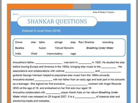 Edexcel Music A Level (from 2016) Shankar Listening Appraising Tests
