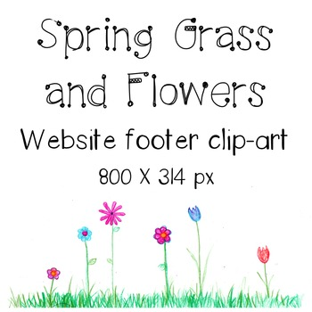 Spring Grass and Flowers Blog or Webpage Footer Colored-Pencil Clip Art