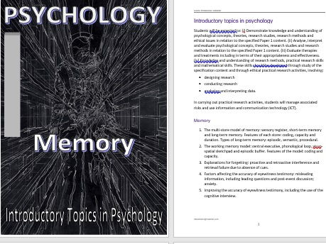 Memory Handout for A level Psychology (AQA) Word Document