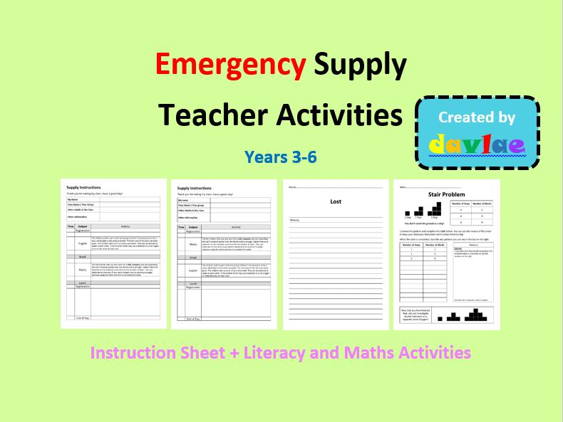Emergency Supply Teacher Activities