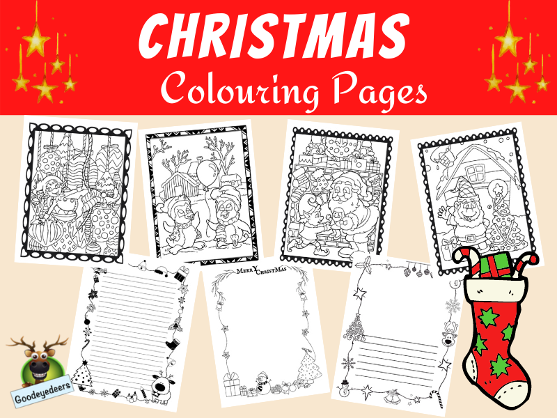 Christmas Colouring Pages and Writing Pages