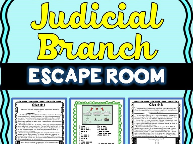 Judicial Branch ESCAPE ROOM: Supreme Court, U.S. Constitution