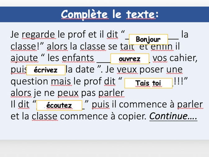 Instructions in the classroom Y7 French
