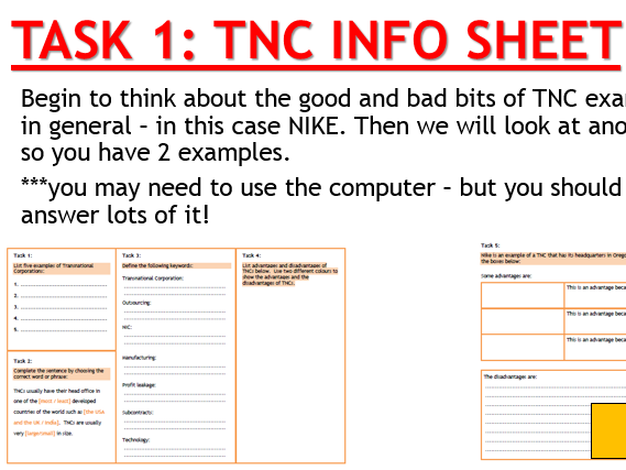 AQA Globalisation - L8 TNC Research (Lesson and Resources).