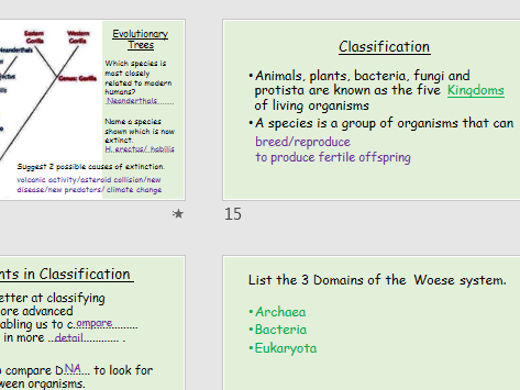 AQA Science- Biology-Unit B15 Revision- Genetics , Evolution & Classification [F]