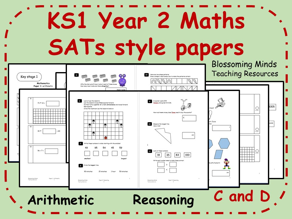 KS1 Year 2 Maths SATs style papers (C+D) - Arithmetic and Reasoning