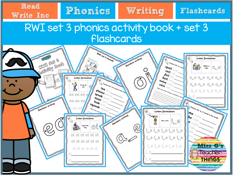 Reception / Year 1 / Year 2 / Year 3 - RWI set 3 phonics activity book + set 3 flashcards