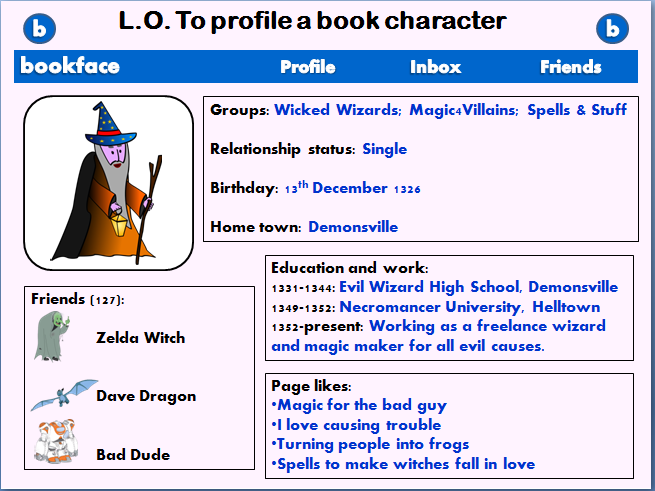 Book character primary English lesson - creating a 'bookface' profile