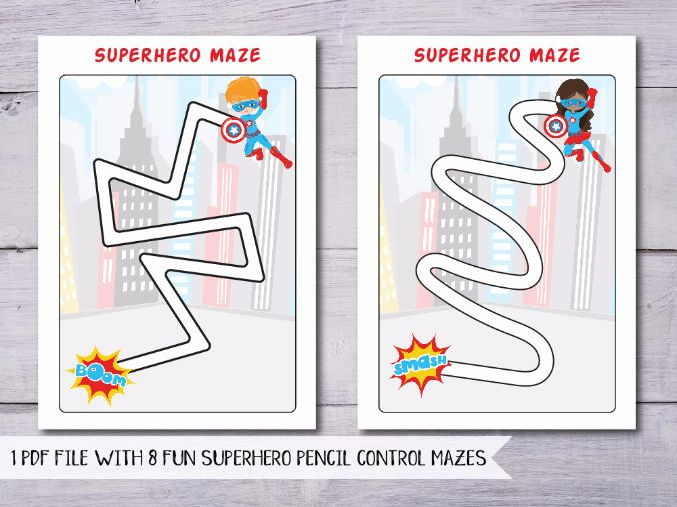 superheroes pencil control superhero fine motor skills mazes by misspepperpot teaching resources. Black Bedroom Furniture Sets. Home Design Ideas