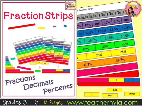Fraction Strips for Fractions Decimals and Percents