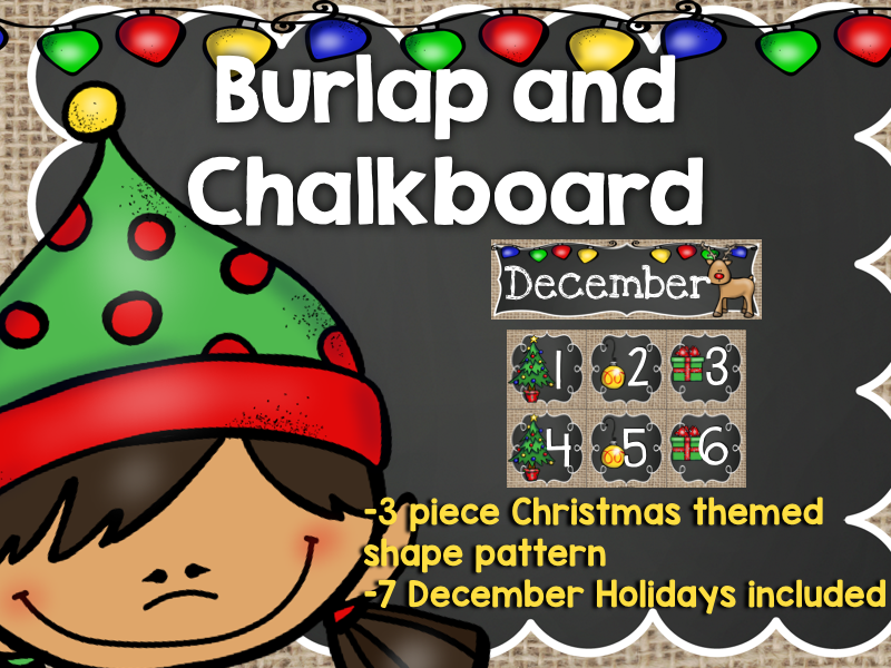 December Calendar: Burlap and Chalkboard