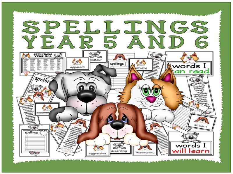 SPELLINGS YEAR 5 AND 6 TEACHING RESOURCES ENGLISH KEY STAGE 2