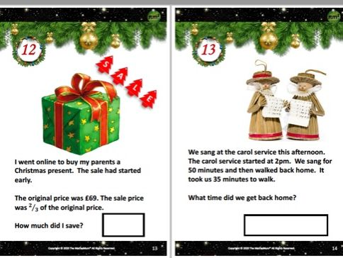 Lower KS2 Alternative Maths Advent Calendar