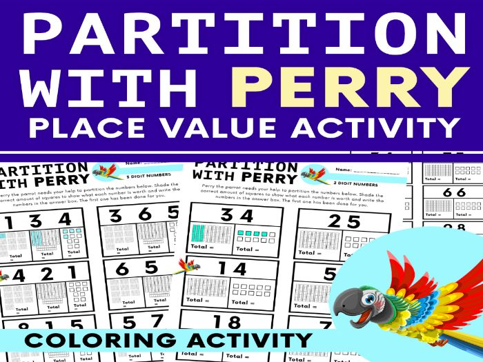 Place Value Colouring Activity - Partition With Perry.