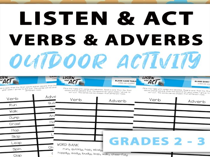 Listen And Act – Outdoor Adverbs Game