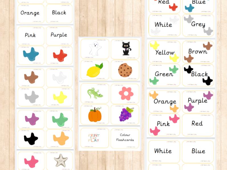 Colour Matching Flashcards - Unjoined Precursive