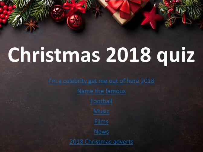 Christmas, end of 2018 quiz
