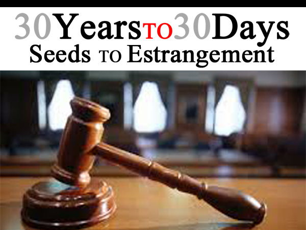 Estrangement: 30 Years to 30 Days: Seeds to Estrangement through Divorce