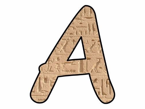 Display bulletin letters cut out alphabet numbers punctuation sign Ancient Egypt