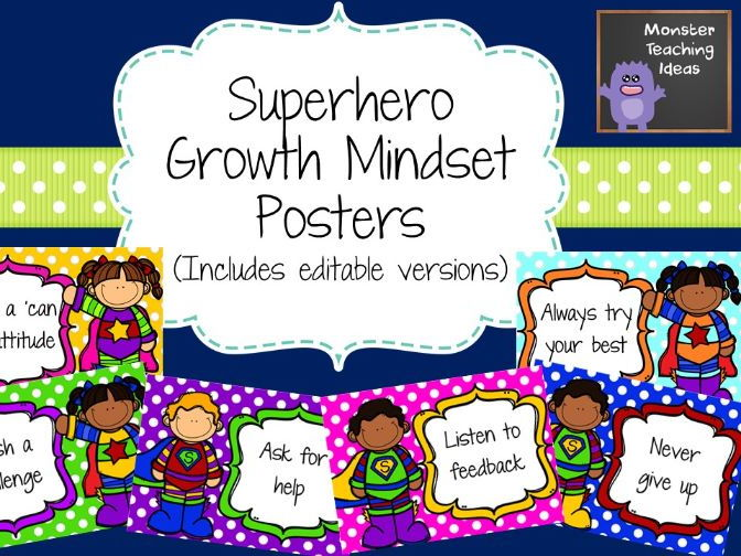 Superhero Growth Mindset Posters (Editable)