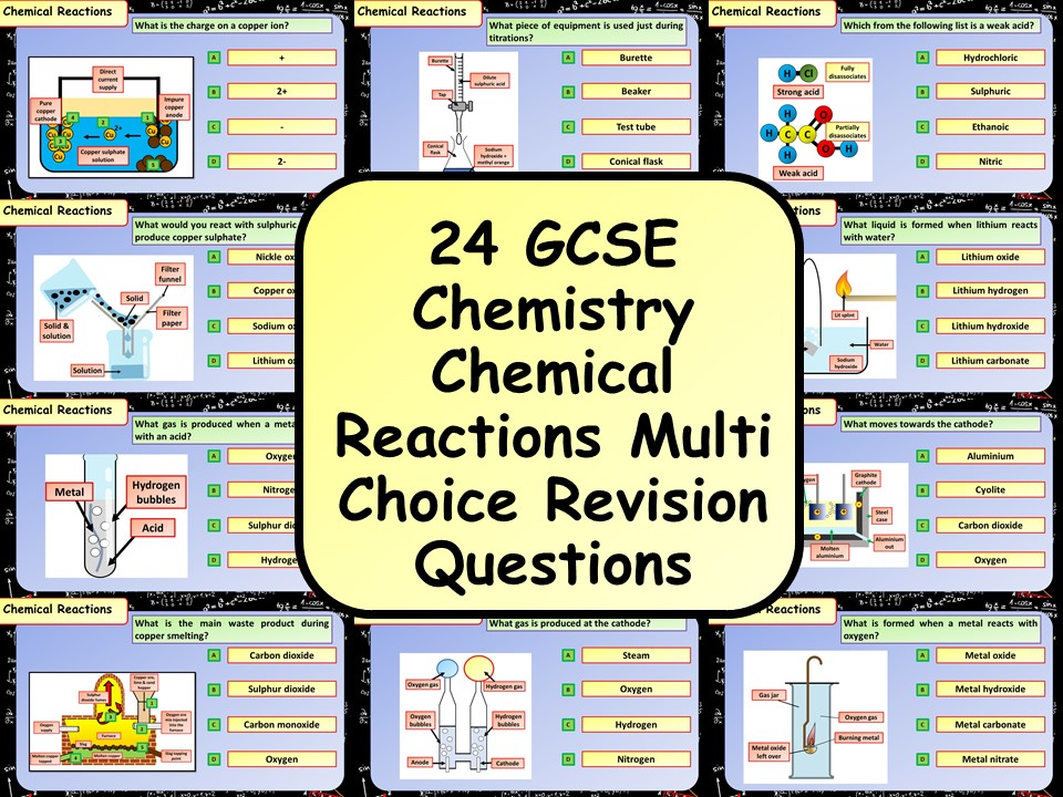 £1 ONLY! KS4 AQA GCSE Chemistry (Science) Chemical Reactions Multiple Choice Revision Questions