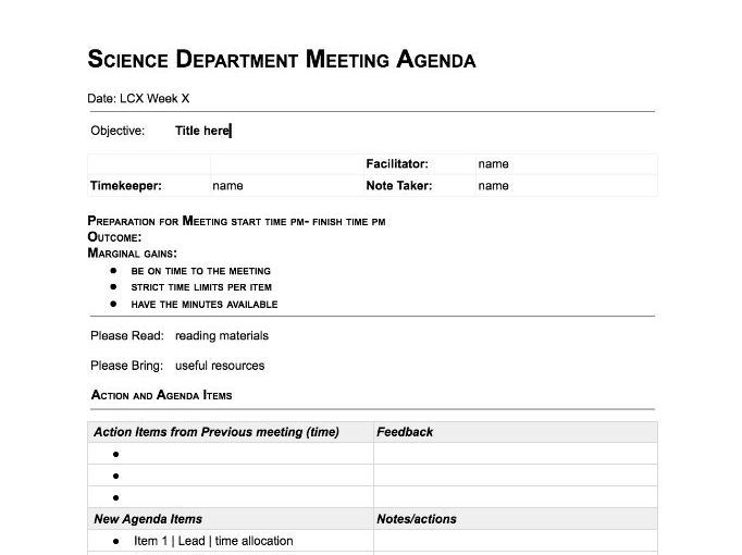 Science Department Meeting Template