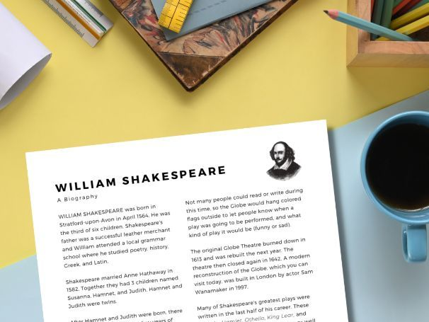 Intro to Shakespeare ★ 5 Worksheets ★ Biography, Key Dates, Key Works, Quizzes