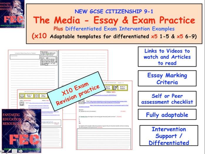 x10 Citizenship GCSE 9-1 Essay Practice Media and Free Press Units