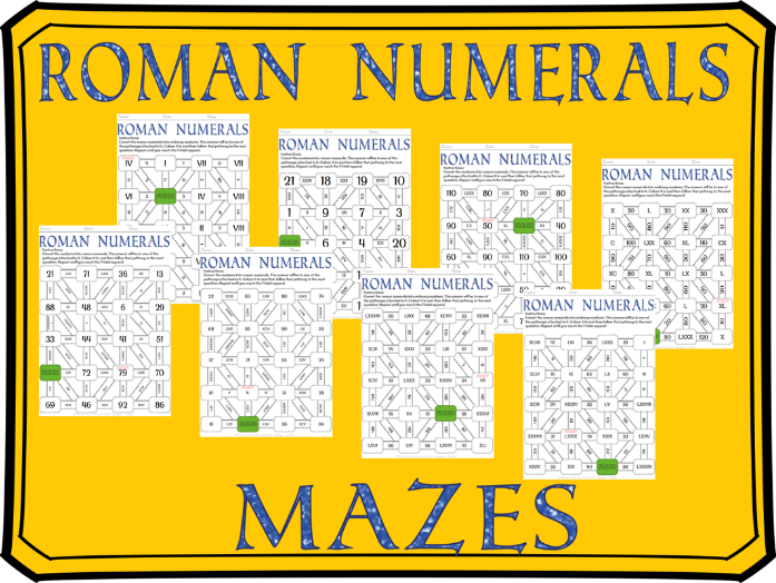 Roman Numerals Mazes: converting between ordinary numbers and roman numerals