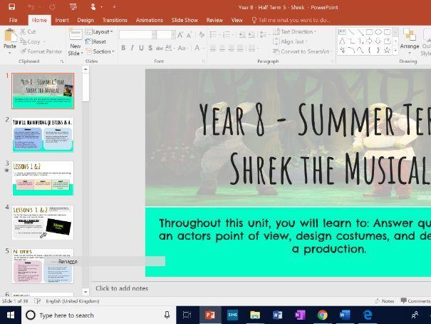 KS3 Drama  - Shrek the Musical - 7 lessons