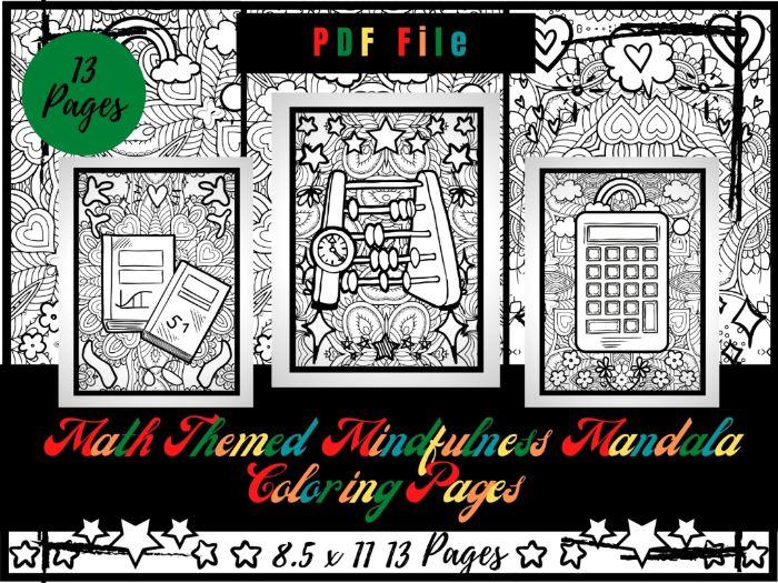 Math Themed Mindfulness Mandala Colouring Pages, Mathematics Colouring Printable