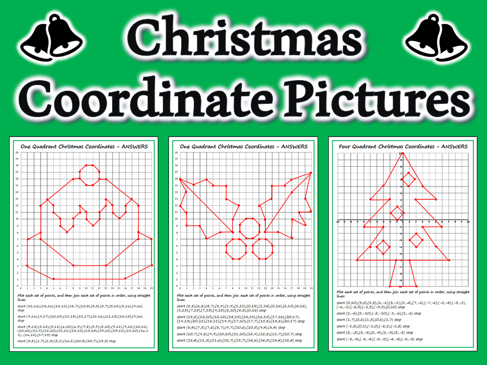 Christmas Coordinate Picture Differentiated Worksheets with Answers