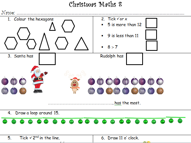 YR,Y1,Y2 (SEN) Eight Christmas themed Maths worksheets.
