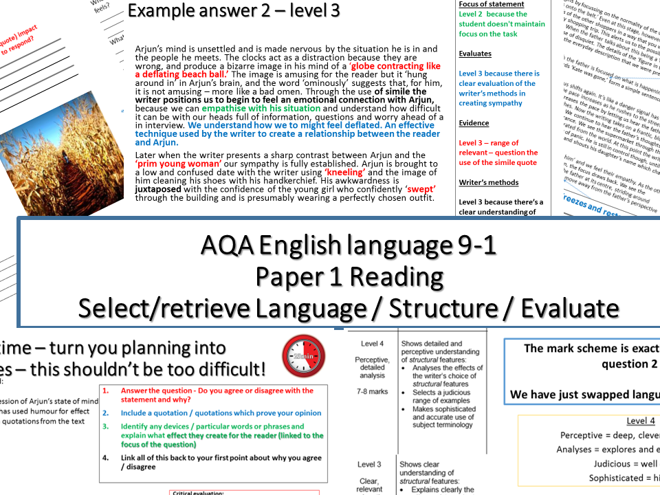 aqa english language paper 1 reading - fiction