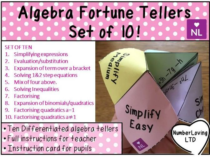 Algebra Fortune Teller Activities