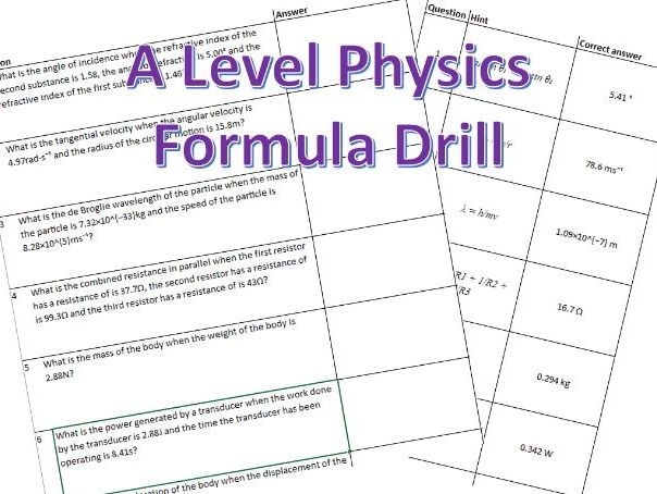A Level Physics Formula Drill Worksheet Question Generator