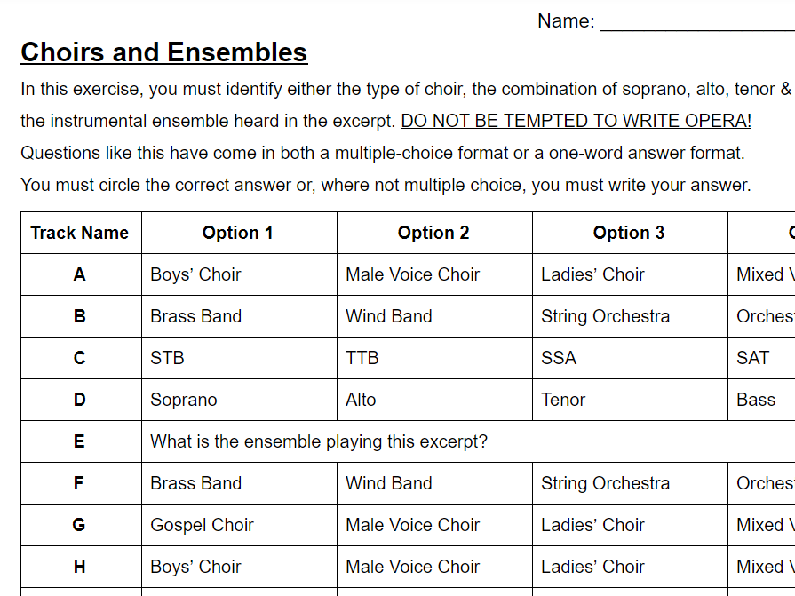 Music GCSE - Choirs and Ensembles Recognition