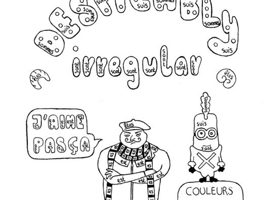 Color by conjugation ÊTRE (to be) French Despicable Me no prep practice