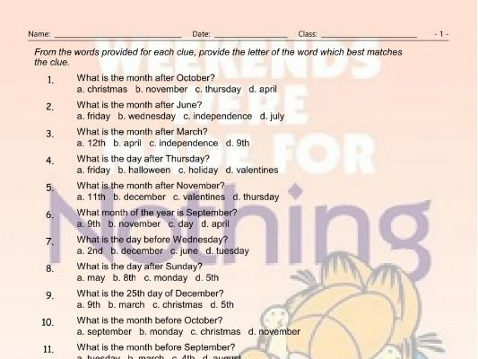 Weekdays-Months-Dates Multiple Choice Worksheet