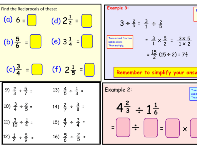 Dividing by a Fraction - Using Reciprocals (notebook)