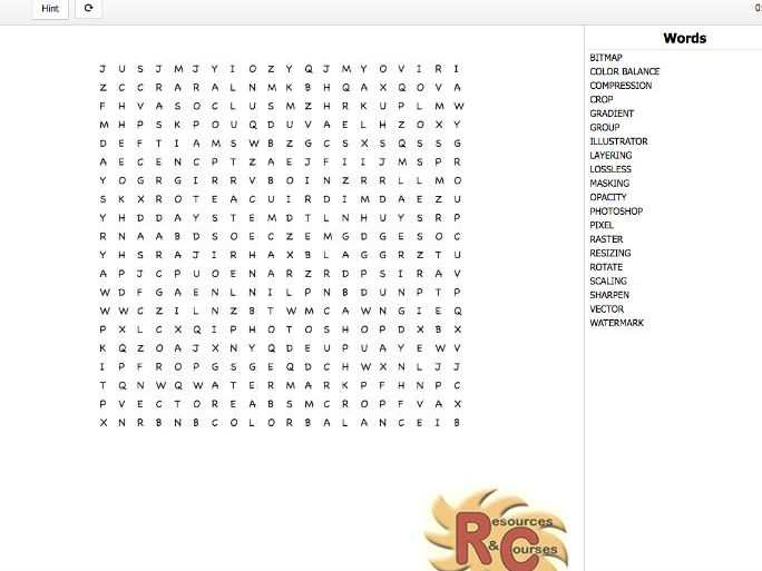 Digital Graphics WordSearch (various formats)