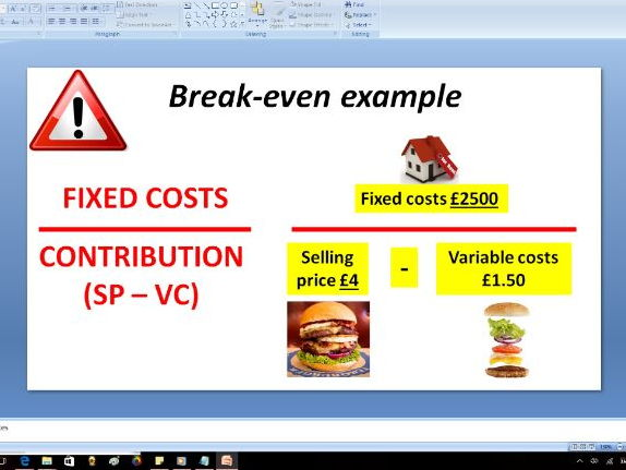 Break even and Contribution - GCSE Business