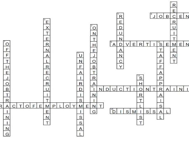 Recruitment Crossword - Business Keyterms / Revision