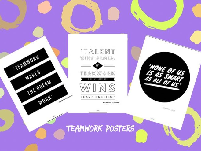 8 Famous Teamwork Quotes for Classroom/ Home Display - Prints Black & White A4