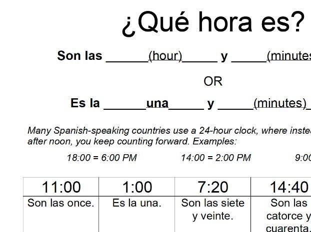 Telling Time Handout: Spanish